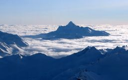 Eternity. Ocean of clouds. Ocean of clouds. View from the high mountain. Caucasus Stock Photography