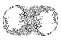 Eternity sign BW. Sign of the eternity or infinity. Artistic decorative interpretation of the mathematical symbol with rose garland and water splashes. Concept Royalty Free Stock Photography
