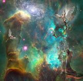 Eternity. Surrealism. Naked men with wings symbolizes angels in space. Skeleton represents death. 3D rendering. Some elements provided courtesy of NASA Stock Images