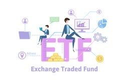 ETF, εμπορικά ανταλλαγή κεφάλαια Πίνακας έννοιας με τις λέξεις κλειδιά, τις επιστολές και τα εικονίδια Χρωματισμένη επίπεδη διανυ απεικόνιση αποθεμάτων