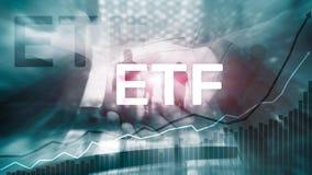 ETF - Εμπορικό ανταλλαγή οικονομικό και εργαλείο εμπορικών συναλλαγών κεφαλαίων Έννοια επιχειρήσεων και επένδυσης διανυσματική απεικόνιση