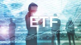 ETF -交换换了资金财政和贸易的工具 企业和投资概念 免版税库存照片
