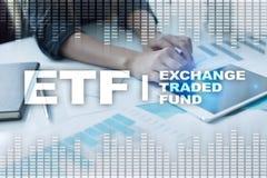 ETF 交换被贩卖的资金 企业、intenet和技术概念 免版税图库摄影
