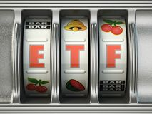 ETF exchange traded fund as jackpot on a slot machine, Successful and profitable investments concept. vector illustration