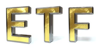 ETF golden text. ETF 3d rendered gold and silver color text on white Stock Photos