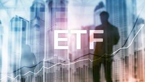 ETF - Uitwisseling verhandeld fonds financieel en handelhulpmiddel Bedrijfs en Investeringsconcept royalty-vrije stock fotografie