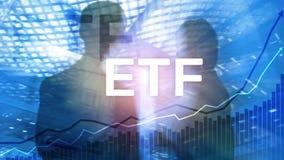 ETF - Uitwisseling verhandeld fonds financieel en handelhulpmiddel Bedrijfs en Investeringsconcept royalty-vrije stock afbeelding