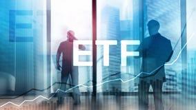 ETF - Uitwisseling verhandeld fonds financieel en handelhulpmiddel Bedrijfs en Investeringsconcept stock afbeelding