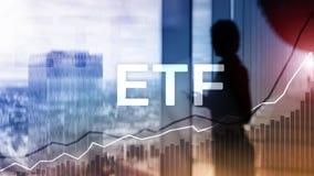 ETF - Uitwisseling verhandeld fonds financieel en handelhulpmiddel Bedrijfs en Investeringsconcept stock foto's