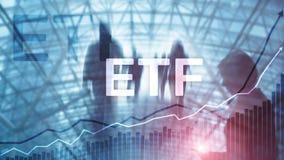 ETF - Uitwisseling verhandeld fonds financieel en handelhulpmiddel Bedrijfs en Investeringsconcept stock afbeeldingen