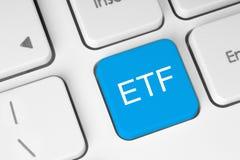 ETF (utbyte handlad fond) blått knäppas Arkivbild