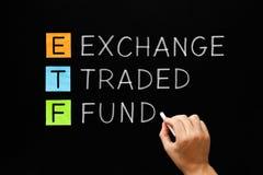 ETF - Utbyte handlat fondbegrepp arkivfoto