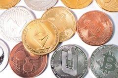 ETH-ethereum Münze auf anderen Münze Virtuelles cryptocurrency concep Lizenzfreie Stockfotos