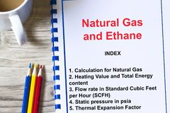 Ethane and natural gas calculation and lecture concept. With table of contents of a lecture Royalty Free Stock Photos