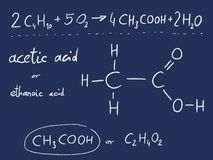 Ethanoic acid. Acetic acid (ethanoic acid) - organic chemistry lesson Royalty Free Stock Photos