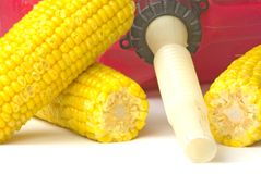 Ethanol. A gas can sitting next to a lot of corn Stock Photography