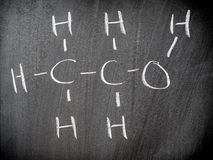 Ethanol chemical formula. In classroom Royalty Free Stock Images