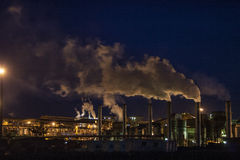 Ethanol factory. Mato Grosso, Brazil, April 10, 2008. Ethanol Manufacturing Plant at night in Brazil Stock Photo