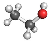 Ethanol molecule. Ball and stick model of ethanol, known as ethyl alcohol or drinking alcohol. It is the most widely accepted recreational psychoactive drug, and Stock Image