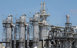 Ethanol Plant. Close-up view of portion of ethanol plant in the midwest royalty free stock photo