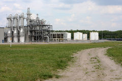 Ethanol Plant. Operations of ethanol plant in small town in the midwest stock photography