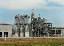 Ethanol Plant Distillation Towers. Metal distillation towers of rural ethanol plant facility Stock Image