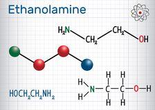 Ethanolamine ETA or MEA molecule .  It is a primary amine and. A primary alcohol. Sheet of paper in a cage. Structural chemical formula and molecule model Stock Image