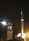 Ethem土侯清真寺和钟楼在地拉纳 通风 免版税库存图片