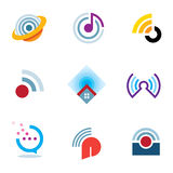 Ether world connectivity signal location positioning waves transmitting logo icons Stock Photos