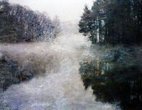 Ethereal Lake Impression. Ist style digital painting stock illustration