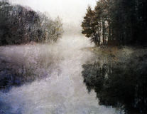 Ethereal Lake Impression. With forest vector illustration