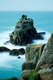 Ethereal view of the Armed Knight, Land`s End, Cornwall. Long exposure. Royalty Free Stock Images