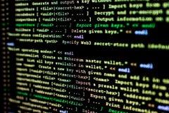 Ethereum、cryptocurrency和分散制原始代码  免版税库存照片