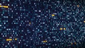 Ethereum加说明出现在改变在屏幕上的十六进制标志中 股票视频