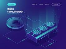 Ethereum等量的Blockchain,大数据处理,服务器室机架,隐藏货币采矿农厂服务器 数据中心 免版税库存照片