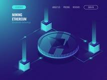 Ethereum隐藏货币采矿服务器室,服务数据中心,块式链技术象征性紫外等量 免版税库存照片