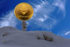 Ethereum é uma maneira moderna de troca e esta moeda cripto é meios de pagamento convenientes nos mercados financeiros e da Web imagem de stock