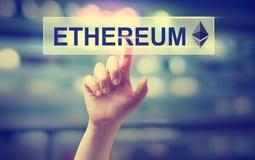 Ethereum με τη συμπίεση χεριών ένα κουμπί Στοκ φωτογραφία με δικαίωμα ελεύθερης χρήσης