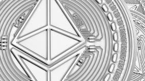 Ethereum чеканит cryptocurrency предпосылки крупного плана иллюстрация штока