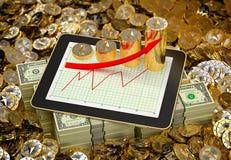 Ethereum чеканит - Tablet показывать рост прибыли - перевод 3D Стоковые Фото