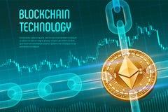 Ethereum 隐藏货币 块式链 与wireframe链子的3D等量物理金黄Ethereum硬币在蓝色财政backgrou 免版税库存图片
