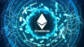 Ethereum Abstract Technology Background Vector. Binary Code. Fintech Blockchain. Cryptography. Cryptocurrency Mining Concept Royalty Free Stock Image