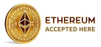 Ethereum. Accepted sign emblem. Crypto currency. Golden coin with Ethereum symbol isolated on white background. 3D isometric Physi. Cal coin with text Accepted Stock Photos