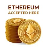 Ethereum. Accepted sign emblem. Crypto currency. Stack of golden coins with Ethereum symbol  on white background. 3D isome. Ethereum. Accepted sign emblem Stock Photo