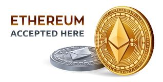 Ethereum. Accepted sign emblem. Crypto currency. Golden and silver coins with Ethereum symbol isolated on white background. 3D iso. Metric Physical coins with Royalty Free Stock Image
