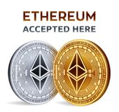Ethereum. Accepted sign emblem. Crypto currency. Golden and silver coins with Ethereum symbol  on white background. 3D iso. Metric Physical coins with text Stock Photos