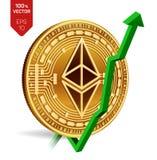 Ethereum Accroissement Flèche verte vers le haut L'estimation d'index d'Ethereum vont sur le marché des changes Crypto devise 3D  Images libres de droits
