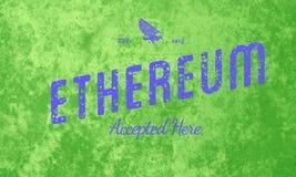 Ethereum aceitou aqui o azul retro do projeto no verde Foto de Stock Royalty Free