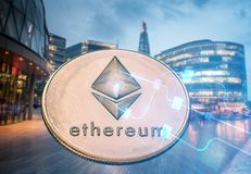 Ethereum Against Skyscrapers - Futuristic Smart City - Cryptocurrency Concept Stock Image