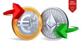 Ethereum all'euro cambio Ethereum Euro violento a metà contro vecchia priorità bassa Cryptocurrency Monete dorate e d'argento con royalty illustrazione gratis